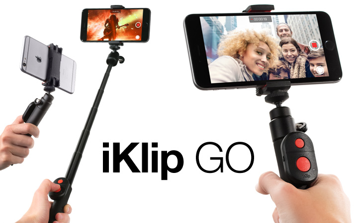 iKlip GO - Compact selfie stick with Bluetooth shutter for Smartphones, compact video cameras, audio field recorders and more
