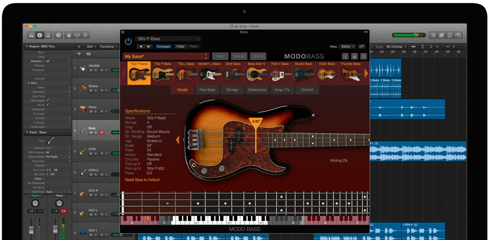 IK Multimedia MODO BASS 1.5.2 Mac 破解版 第一款物理建模贝斯的虚拟乐器